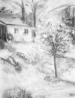 Shed Drawing - Grandpa's Backyard Iv by Helena Bebirian