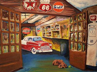 Texaco Wall Art - Painting - Grandpa's Garage by Tim Loughner