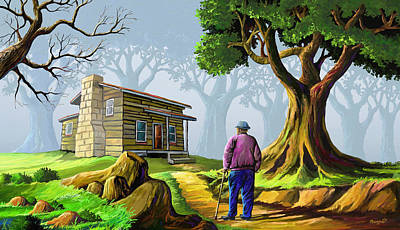 Africa Painting - Grandpa's Home by Anthony Mwangi