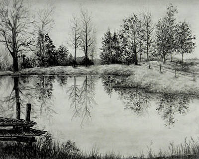 Drawing - Grandpa's Pond by Sipporah Art and Illustration