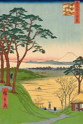 Print Painting - Grandpa's Teahouse, Meguro by Utagawa Hiroshige