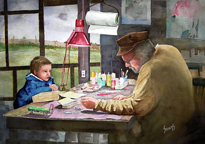 Painting - Grandpa's Workbench by Sam Sidders