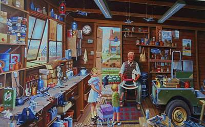 Painting - Grandpa's Workshop. by Mike Jeffries