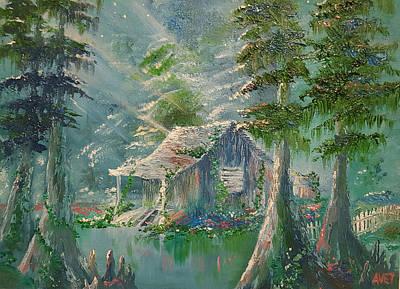 Cypress Swamp Painting - Grandpaw's Ol' Trapper's Camp by Nicolas Avet