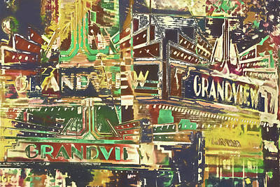Grandview Digital Art - Grandview Theater  by Susan Stone