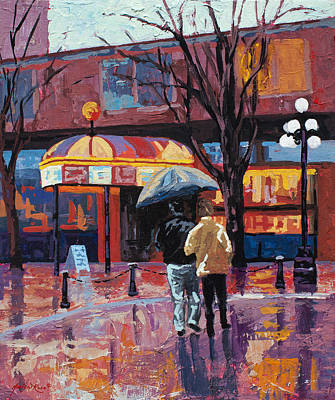 Street Lights Painting - Grandville Couple by Marion Rose