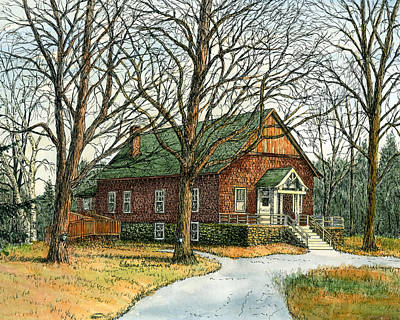 Maple Syrup Painting - Grange Hall No.44, Londonderry, Nh by Elaine Farmer