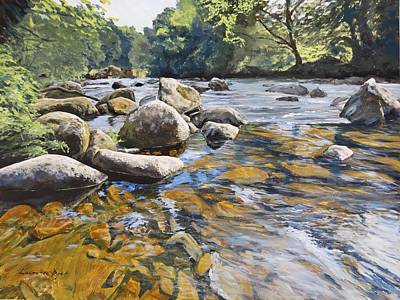 Painting - Granite Boulders East Okement River by Lawrence Dyer