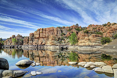Watson Lake Reflections Photograph - Granite Dells At Watson Lake by Donna Kennedy