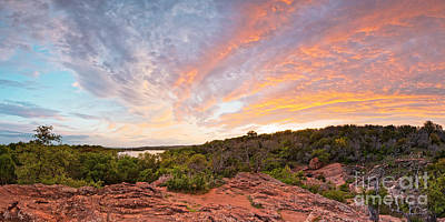 Photograph - Granite Hills Of Inks Lake State Park Against Fiery Sunset - Burnet County Texas Hill Country by Silvio Ligutti