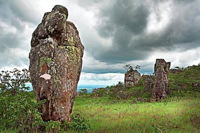 Granite Monolith In Tropical Savanna La Chiquitania Bolivia Art Print by Dirk Ercken