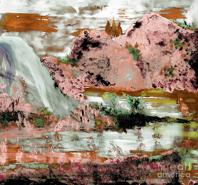 Alligator Mixed Media - Granite Mountain Lake by Sherry Alice Roberts