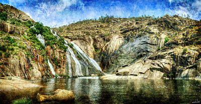 Photograph - Granite Mountain Waterfall Panorama - Vintage Version by Weston Westmoreland