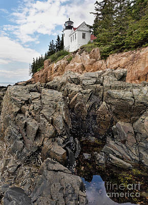 Photograph - Granite Shore And Lighthouse In Bass Harbor, Trenton, Me #40038-40 by John Bald