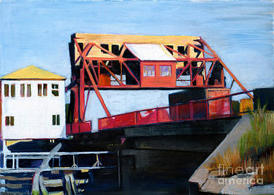Southie Drawing - Granite Street Drawbridge At Neponset River by Deb Putnam