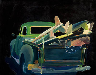 Huntington Painting - Grannis Surf Truck by Hil Hawken