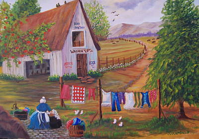 Granny And Her Laundry Art Print by Janna Columbus