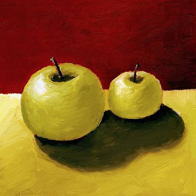 Closeup Print featuring the painting Granny Smith Apples by Michelle Calkins