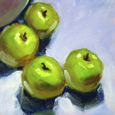 Painting - Granny Smith Apples by Nancy Merkle