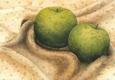 Granny Smith Apples Art Print by Sandy Clift