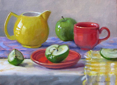 Table Cloth Painting - Granny Smiths by Bonnie Mason