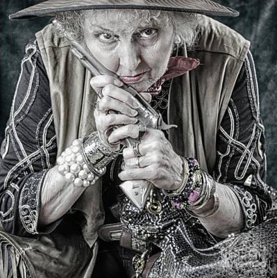 Granny With Her Gun  Art Print by Steven Digman