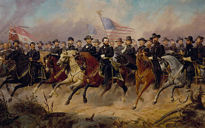 U.s Painting - Grant And His Generals by War Is Hell Store