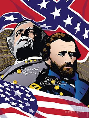 Grant And Lee At Appomattox Print by Joe Barsin