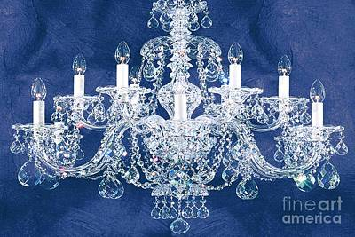 Grant Blue Entrance Chandelier Art Print