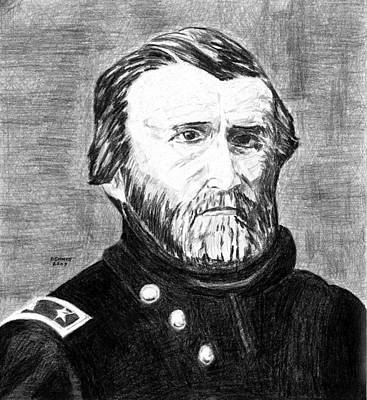 General Grant Drawing - Grant by Dennis Larson