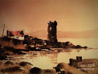 Painting - Granuales Castle Achill Mayo by Val Byrne