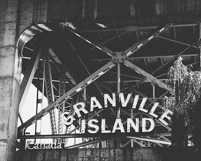 British Columbia Photograph - Granville Island Bridge Black And White- By Linda Woods by Linda Woods