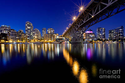 Photograph - Granville Street Bridge At Dusk by Terry Elniski