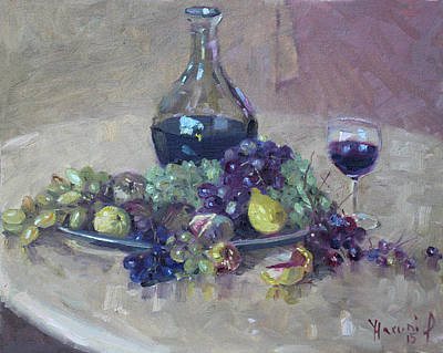 Grape And Wine Art Print by Ylli Haruni
