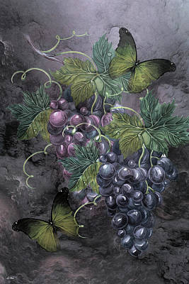 Concord Mixed Media - Grape Clusters by G Berry