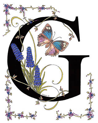 Stanza Mixed Media - Grape Hyacinth And Genoveva Azure Butterfly by Stanza Widen