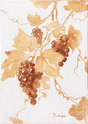 Wine Country Watercolor Painting - Grape Vine Clusters by Bat Lee