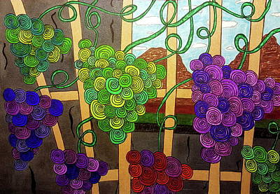 Purple Grapes Drawing - Grape Vines by Neal Alicakos