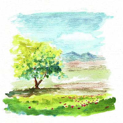 Painting - Grapefruit Tree And Poppies by Masha Batkova