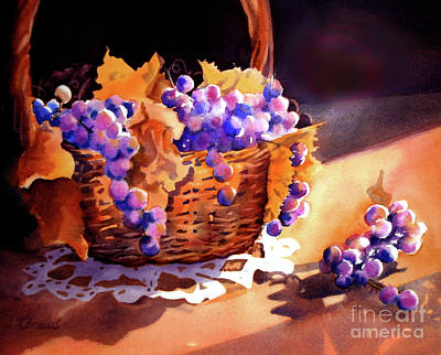 Painting - Grapes And Basket by Kathy Braud