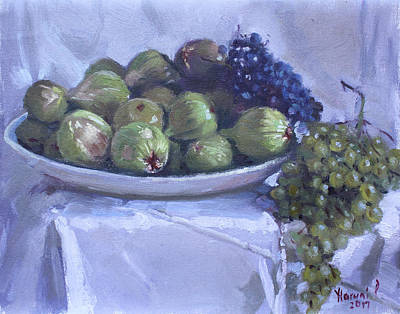 Grape Wall Art - Painting - Grapes And Figs At Lida's by Ylli Haruni
