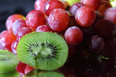 Photograph - Grapes And Kiwi by Angela Murdock