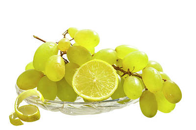 Grapes And Lemon In A Glass Vase Art Print by larisa Fedotova