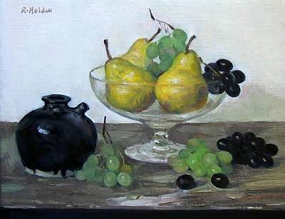 Painting - Grapes And Pears In Glass Pedestal Bowl by Robert Holden