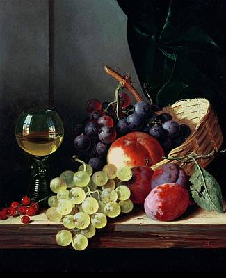 Plum Painting - Grapes And Plums by Edward Ladell