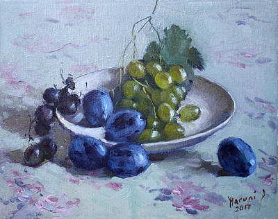 White Grape Painting - Grapes And Plums by Ylli Haruni