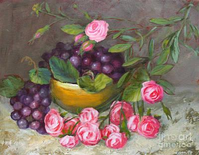 Grapes And Roses Original by Sue Cervenka