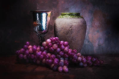 Slate Photograph - Grapes And Silver Goblet by Tom Mc Nemar