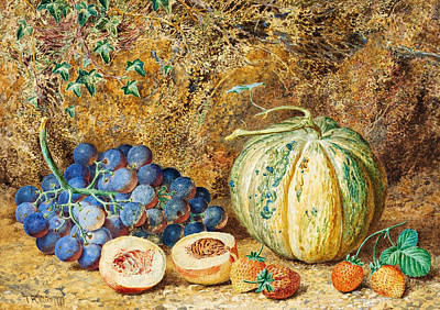 Blue Grapes Painting - Grapes And Strawberries by Thomas Collier