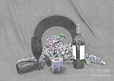 Photograph - Grapes And Wine by Sherry Hallemeier